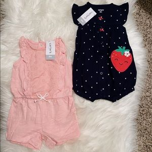 2 Baby Girl Summer Romper One Piece Outfits